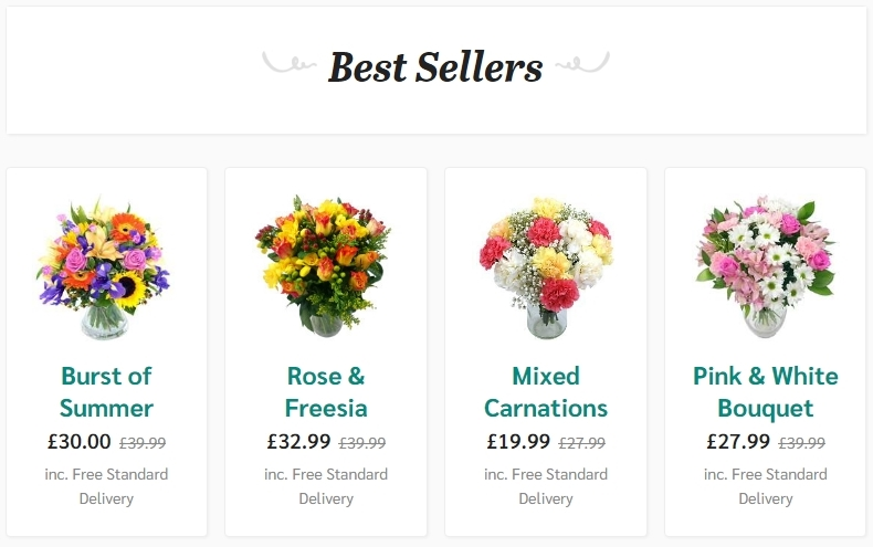Bestsellers at the www.clareflorist.co.uk